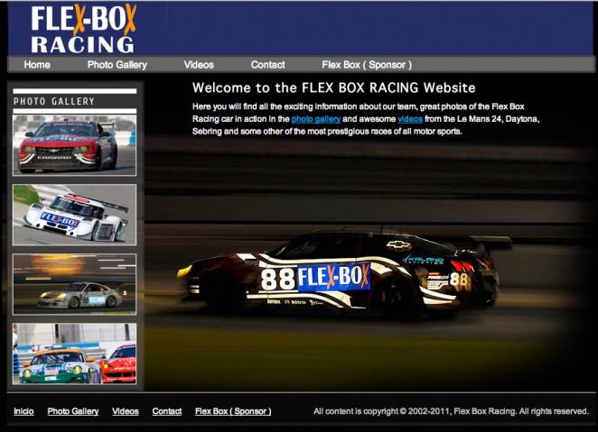 custom web design and development for Flex box racing